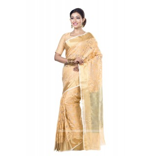 Handloom  Pure Resham  Muslin Silk Saree in Golden with Golden Zari Border