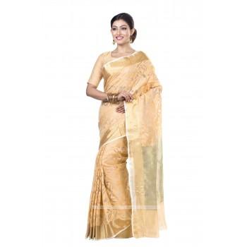 Handloom  Pure Resham  Muslin Silk Saree in Golden with Golden Zari Border