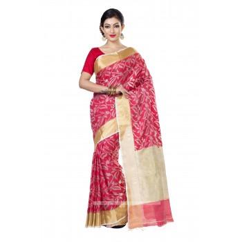 Handloom  Pure  Muslin Silk Saree in Red with Golden Zari Border