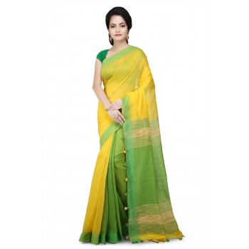 WoodenTant Yellow and Green Half Half Soft Cotton Saree