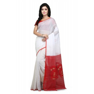 WoodenTant White and Red Cotton Silk Soft Dhakai Jamdani Handloom Saree With Temple Border