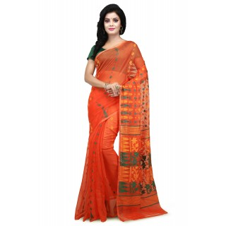 WoodenTant  Peach Cotton Silk Soft Dhakai Jamdani Handloom Saree With Temple Border