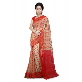 Dhakai jamdani  Red with designer  thread  work in all over saree