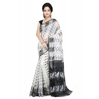 Dhakai Jamdani saree Black and white pallu with Thread Work in all over saree