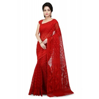 Dhakai Jamdani saree in Red with Thread Work in all over saree