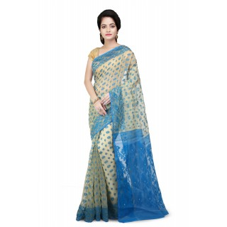 Dhakai jamdani in Blue with designer  thread  work in all over saree