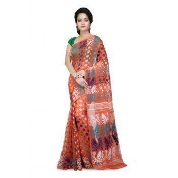 Dhakai Jamdani saree In Orange With multicolor Designer Thread Work in all over saree