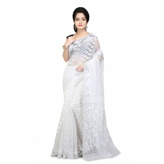 Dhakai Jamdani saree in white with Thread Work in all over saree