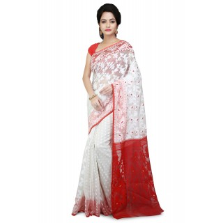Dhakai Jamdani saree in white with red pallu with Thread Work in all over saree