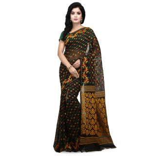 Woodentant Soft Cotton Silk Dhakai Jamdani In Black With Multicolor  Thread Work