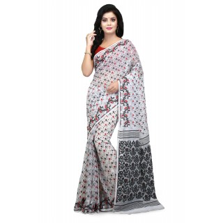 Woodentant Soft Cotton Silk Dhakai Jamdani In White With Multicolor  Thread Work