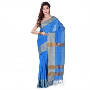 Handloom soft Silk saree with Tested Zari border in Deep Aqua Blue