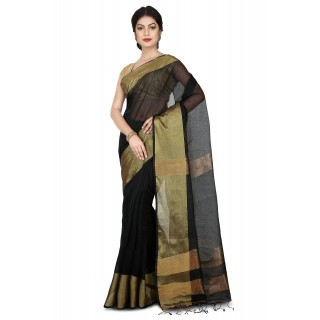 Handloom soft Silk saree with Tested Zari border in Navi Blue
