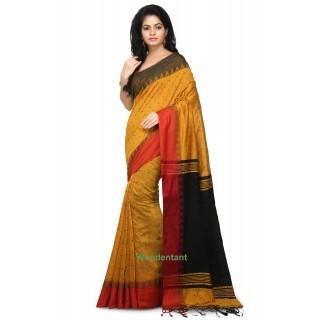 2cc1e8ef1b8f5f Handloom Cotton Silk Saree in Yellow With Temple Border
