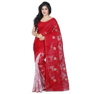 Dhakai Jamdani Handloom Saree in Red N White