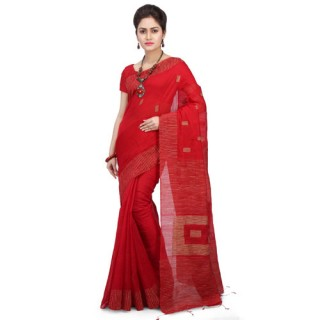 Silk Ghicha Saree in Red