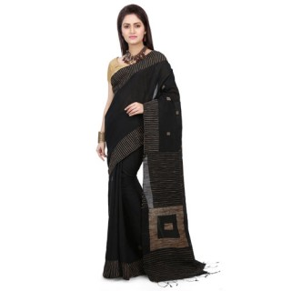 Silk Ghicha Saree in Black