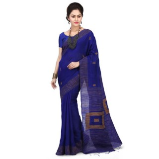 Silk Ghicha Saree in Royal Blue