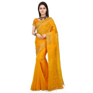 Cotton Silk Handloom Siki Saree in Yellow