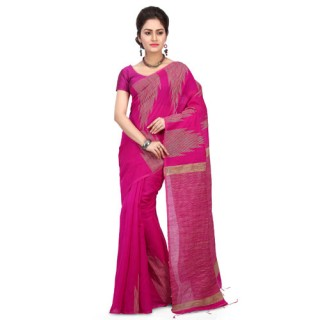Silk Ghicha Saree in Pink