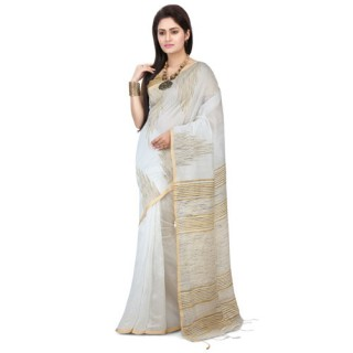 Silk Ghicha Saree in White