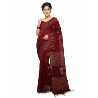 Maroon Box Ghicha Handloom Cotton Silk Saree With Hand Weaved Ghicha Border