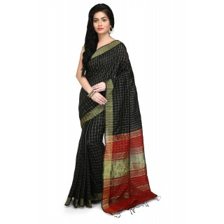 WoodenTant Cotton Silk Zari Saree In Black