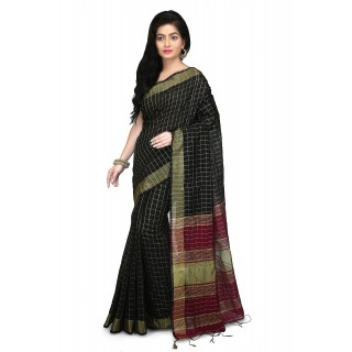 WoodenTant Cotton Silk Zari Saree In black With Check Design.