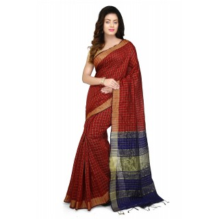 WoodenTant Cotton Silk Zari Saree In Red
