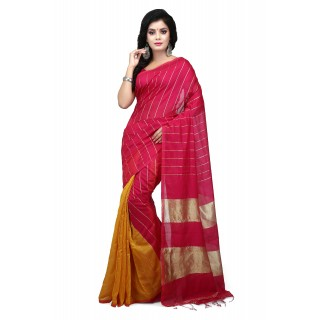 WoodenTant Handloom Cotton Silk Zari Saree In Pink & Yellow