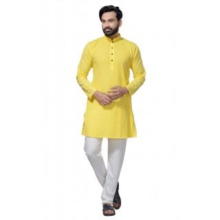 Men's Cotton Khadi Kurta Punjabi in Yellow