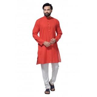 Men's Cotton Khadi Kurta Punjabi in Red