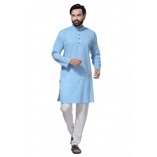 Men's Cotton Khadi Kurta Punjabi in sky blue