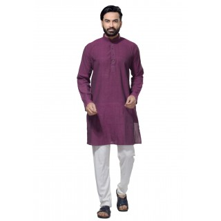 Men's Cotton Khadi Kurta Punjabi in Purple