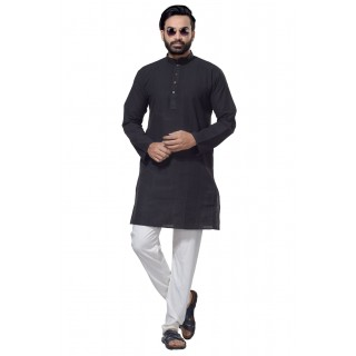 Men's Cotton Khadi Kurta Punjabi in Black