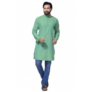 Men's Cotton Khadi Kurta Punjabi in Turquoise