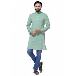 Men's Cotton Khadi Kurta Punjabi in Sea Green