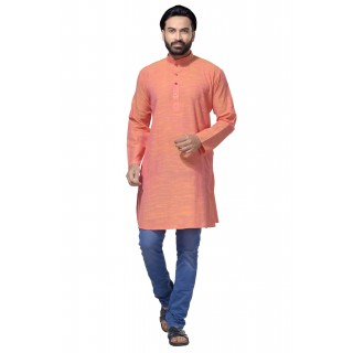 Men's Cotton Khadi Kurta Punjabi in Peach