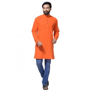 Men's Cotton Khadi Kurta Punjabi in Orange