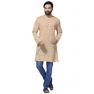 Men's Cotton Khadi Kurta Punjabi in Beige