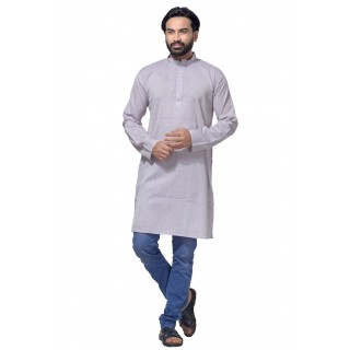 Men's Cotton Khadi Kurta Punjabi in Silver
