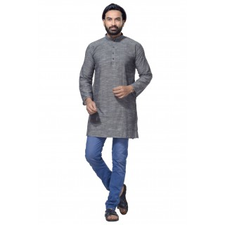 Men's Cotton Khadi Kurta Punjabi in Grey