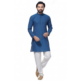 Men's Cotton Khadi Kurta Punjabi in Navy