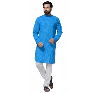 Men's Cotton Khadi Kurta Punjabi in Blue