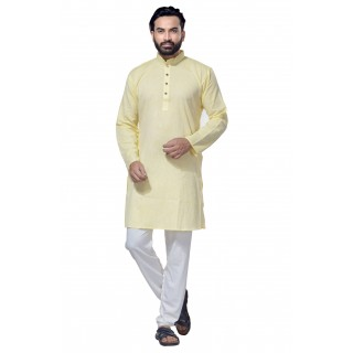 Men's Cotton Khadi Kurta Punjabi in Yellow