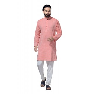 Men's Cotton Khadi Kurta Punjabi in Light Pink