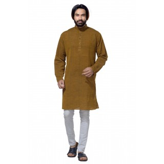 Men's Cotton Khadi Kurta Punjabi in Olive