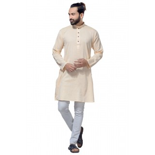 Men's Cotton Khadi Kurta Punjabi in Cream