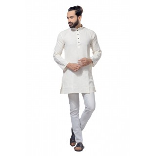 Men's Cotton Khadi Kurta Punjabi in White