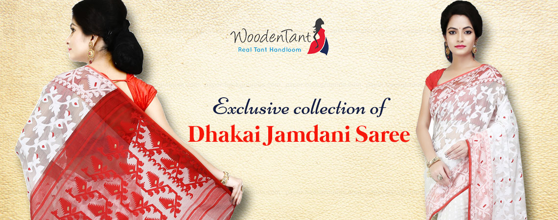 Wooden Tant - Dhakai Jamdani Saree